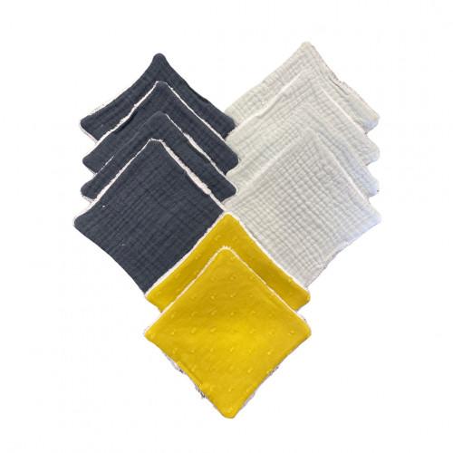lot de 10 cotons lavables bleu et moutarde - 100% coton - Hug Me Paris - Paulette Store