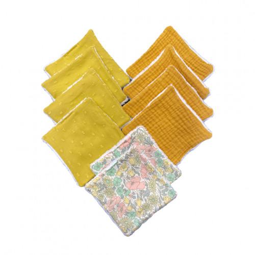 lot de 10 cotons lavables coloris moutarde et liberty - 100% coton - Hug Me Paris - Paulette Store