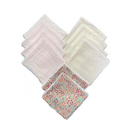 lot 10 cotons lavables rose poudré et liberty - hug me paris - paulette store