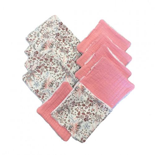 lot de 10 cotons lavables rose et liberty - hug me paris - paulette store