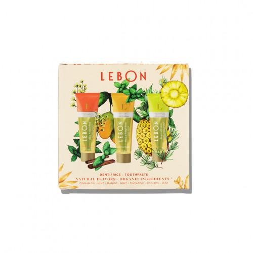 """Coffret """"Orange Mood"""" - coffret de 3 dentifrices Lebon en format voyage - Paulette Store"""